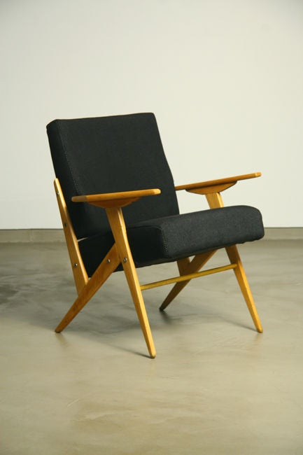 Exotic wood and fabric side chairs by jose zanine caldas