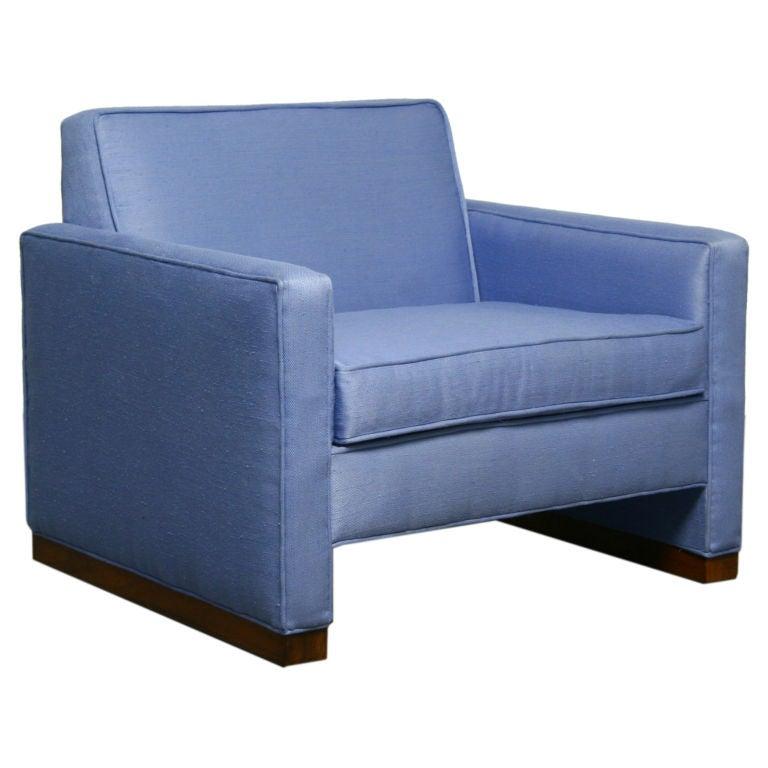 Light blue fabric armchair with walnut base by dunbar at for Light blue armchair
