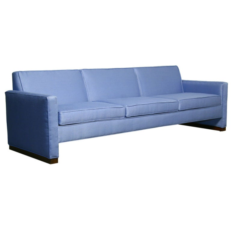 Light Blue Fabric Sofa With Walnut Base By Dunbar At 1stdibs