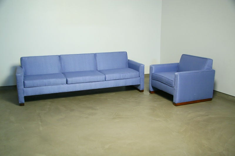 Light blue fabric sofa with walnut base by Dunbar 2