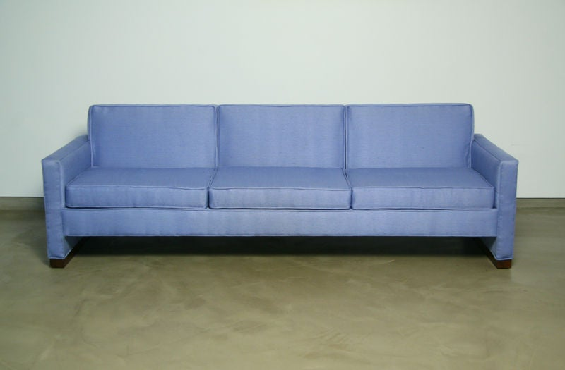 Light blue fabric sofa with walnut base by Dunbar 3