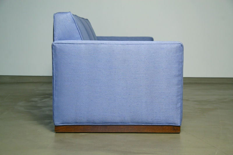 Light blue fabric sofa with walnut base by Dunbar 4
