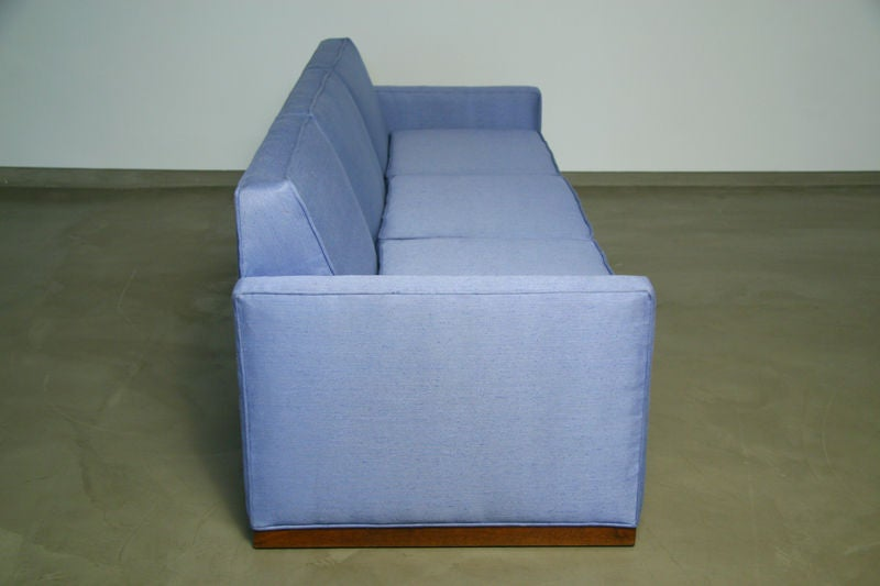 Light blue fabric sofa with walnut base by Dunbar 5