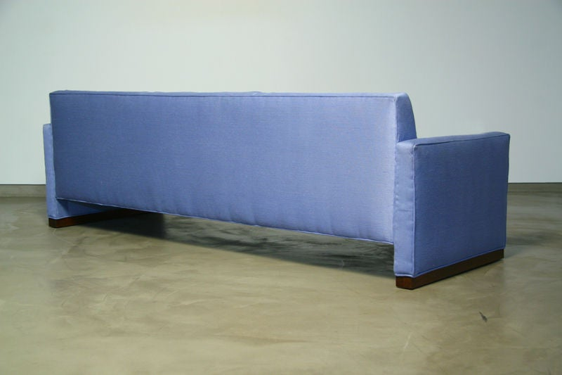 Light blue fabric sofa with walnut base by Dunbar 6