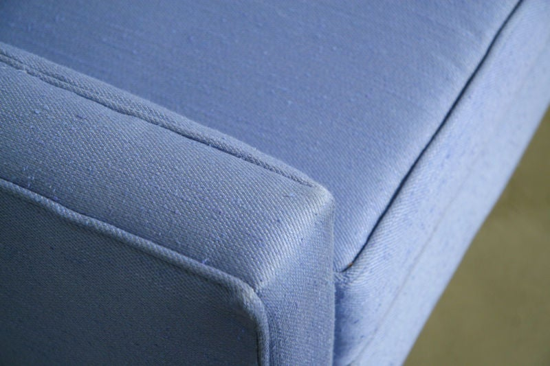 Light blue fabric sofa with walnut base by Dunbar image 8