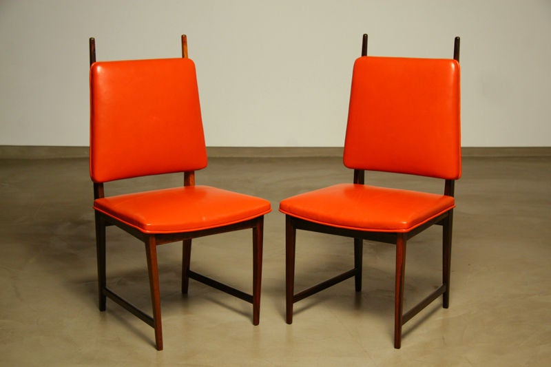 Set Of 8 Horned Rosewood And Red Leather Dining Chairs At 1stdibs