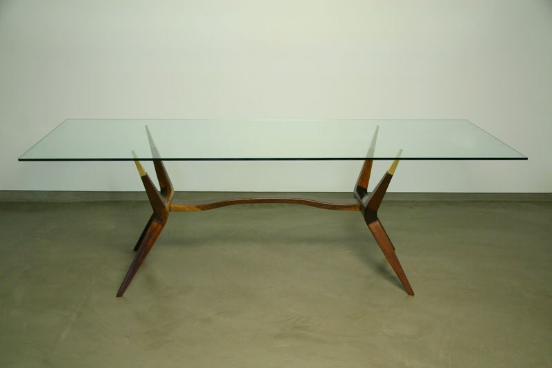 Sculptural Exotic Wood And Bronze Dining Table With Glass Top Image 3