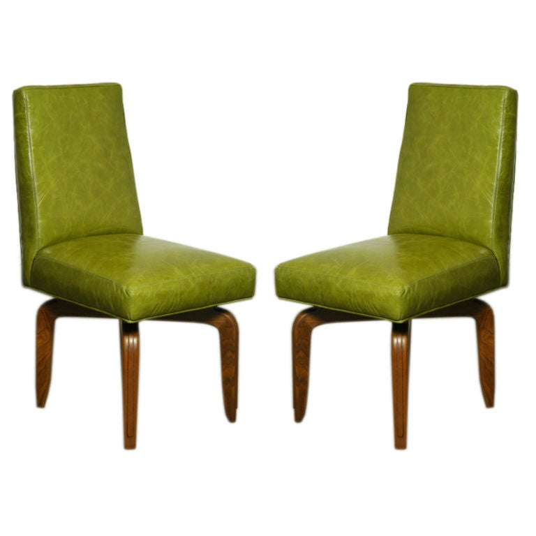 set of 2 green leather dining chairs by monteverdi young