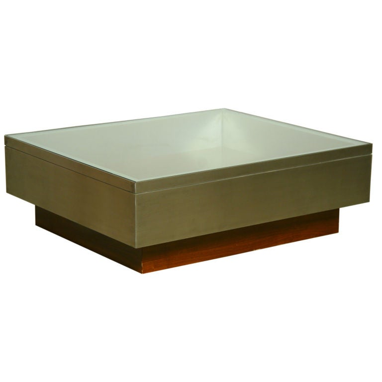 Glass brushed stainless steel and rosewood coffee table at 1stdibs Steel and glass coffee table