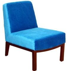Dunbar single blue mohair and mahogany slipper chair