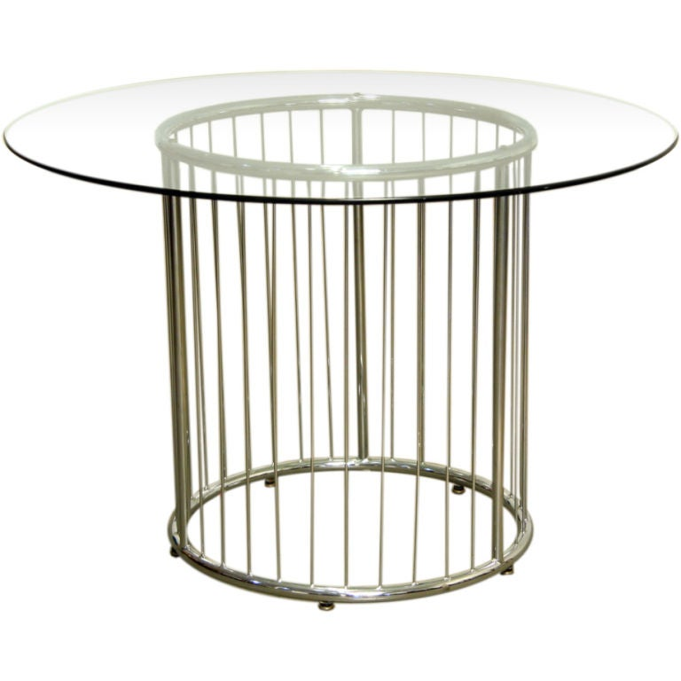 Circular Chrome Base Glass Top Dining Table At 1stdibs
