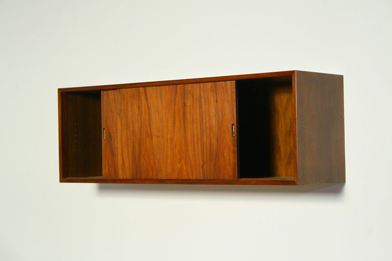 Claro Walnut Wall Mounted Cabinet With Two Sliding Doors