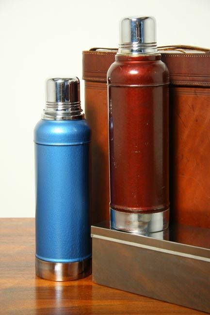 American Abercrombie and Fitch lunchbox and leather thermos case