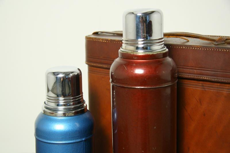Mid-20th Century Abercrombie and Fitch lunchbox and leather thermos case