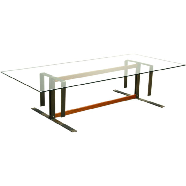Custom Bronze Ipe And Glass Coffee Table At 1stdibs