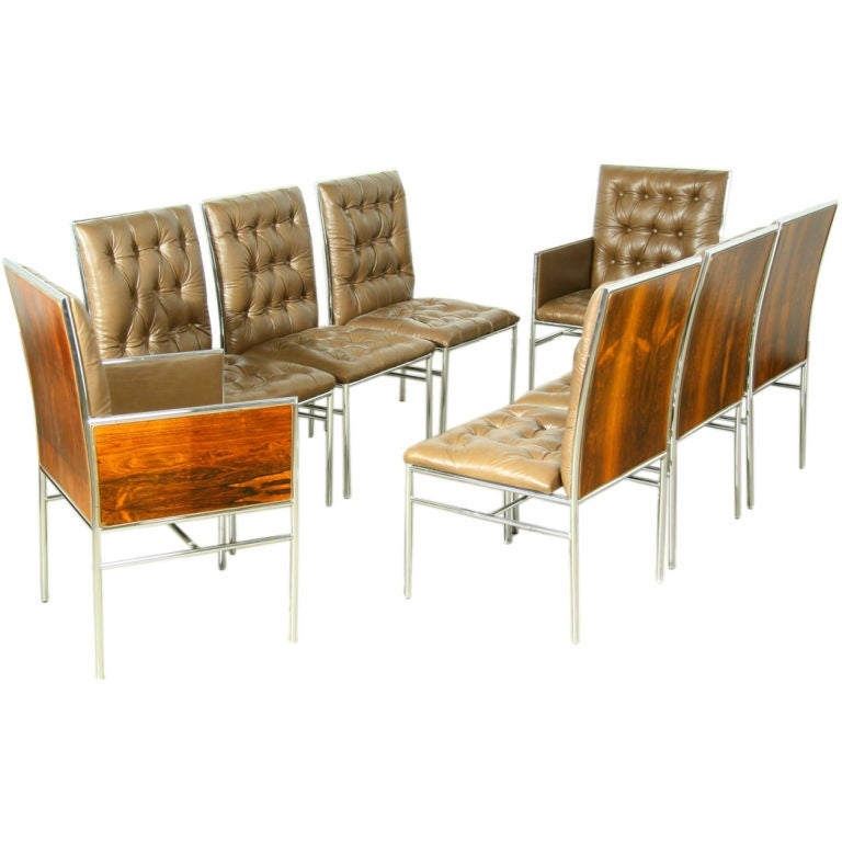 A set of 8 rosewood chrome and tufted leather dining for Tufted leather dining room chairs