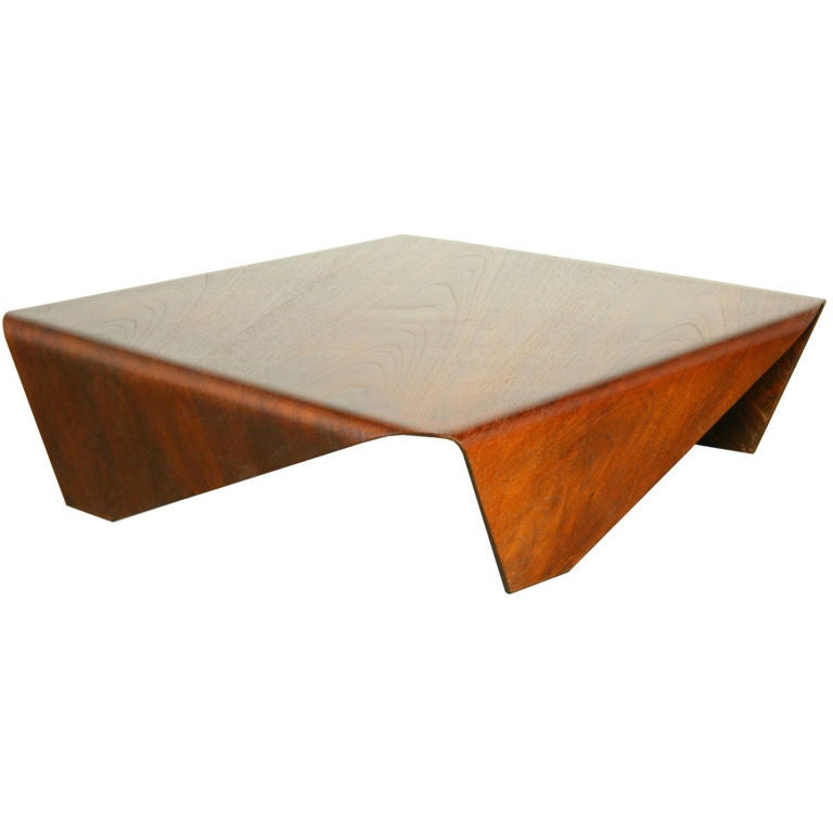 Low Geometric Bent Plywood Coffee Table By Jorge Zalszupin At 1stdibs