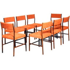 Set of 8 rosewood and red buckskin leather dining chairs