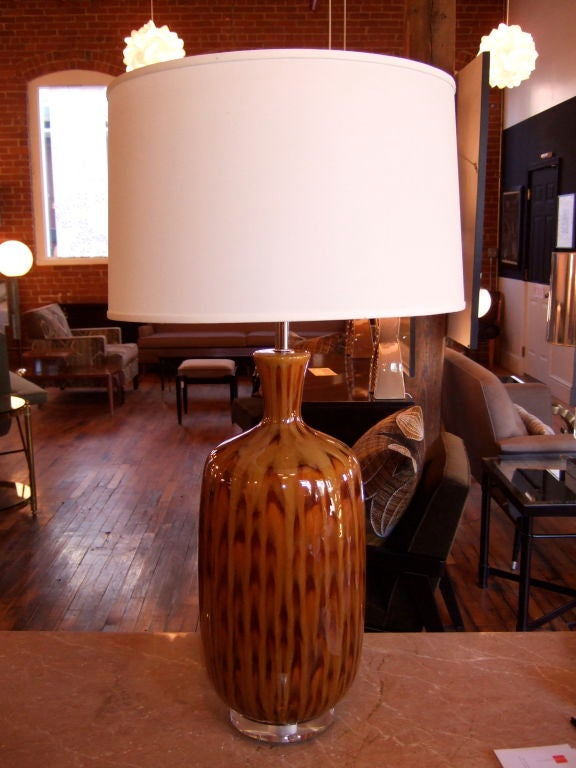 Pair of tall and substantial brown glazed table lamps with tortoise like glazed @ 1960 on new lucite bases with nickel stem and hardware. ....shades not included.<br /> <br /> Please visit our gallery in Stamford, Connecticut located at 583