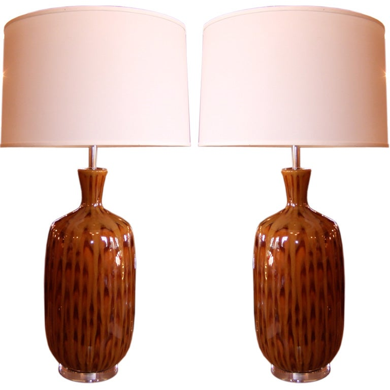 Pair of Tortoise Glazed Table Lamps For Sale