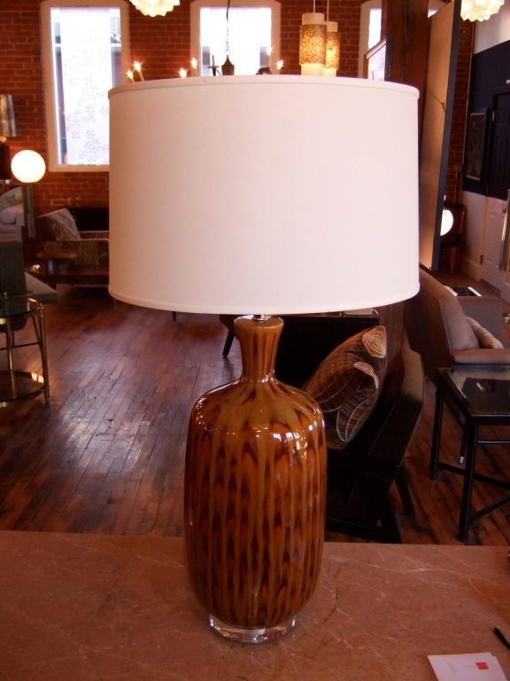 American Pair of Tortoise Glazed Table Lamps For Sale