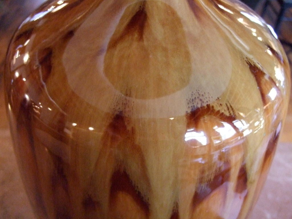 Pair of Tortoise Glazed Table Lamps For Sale 2
