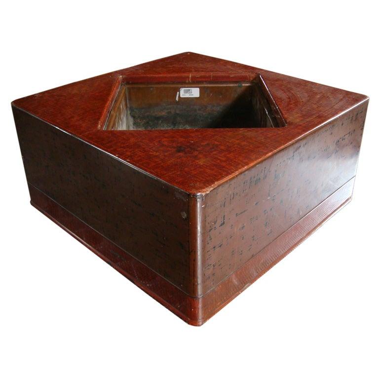 Rare Large Square Negoro Lacquered Japanese Hibachi