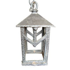 Hand-Forged Metal Lantern and Canopy and Chain