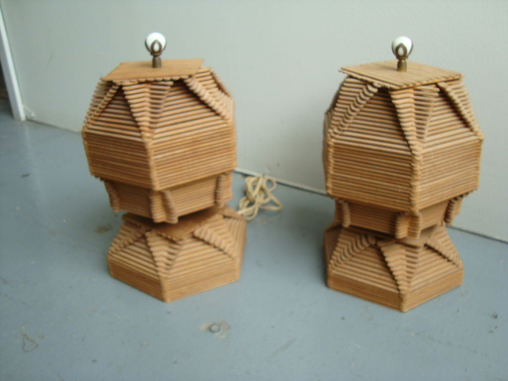 A Pair Of Unique Popsicle Stick Table Lamps At 1stdibs