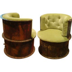 UNIQUE BARREL CHAIRS FASHIONED FROM INDUSTRIAL STEAM PIPES