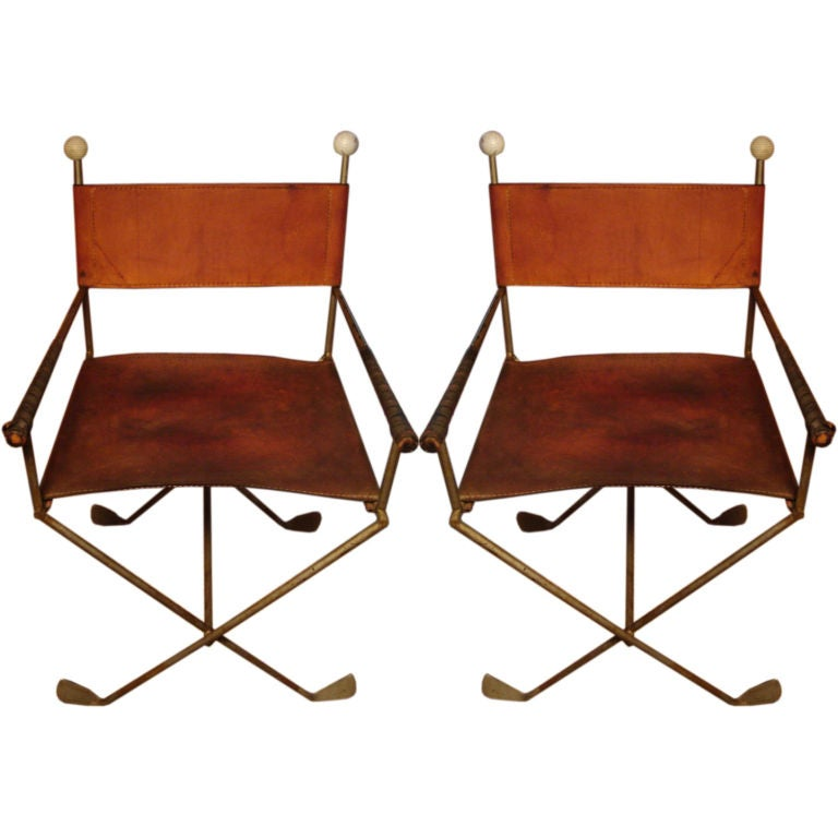 Unusual Furniture For Sale: A Pair Of Exceedingly Unusual Chairs Constructed Of Golf