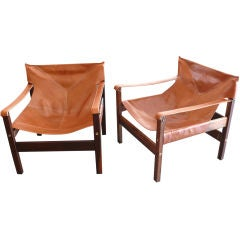 Brazilian Rosewood and Leather Chairs