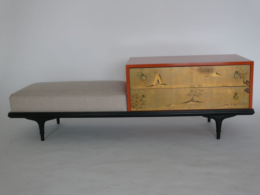 Sleek asian style bench designed by Renzo Rutili for Johnson Furniture. Cabinet has been lacquered deep orange and bench upholstered in a textured natural linen.  Original gold painted drawers are beautiful.