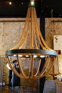 erin martin original.  dramatic rope chandelier with inset lighting. metal frame