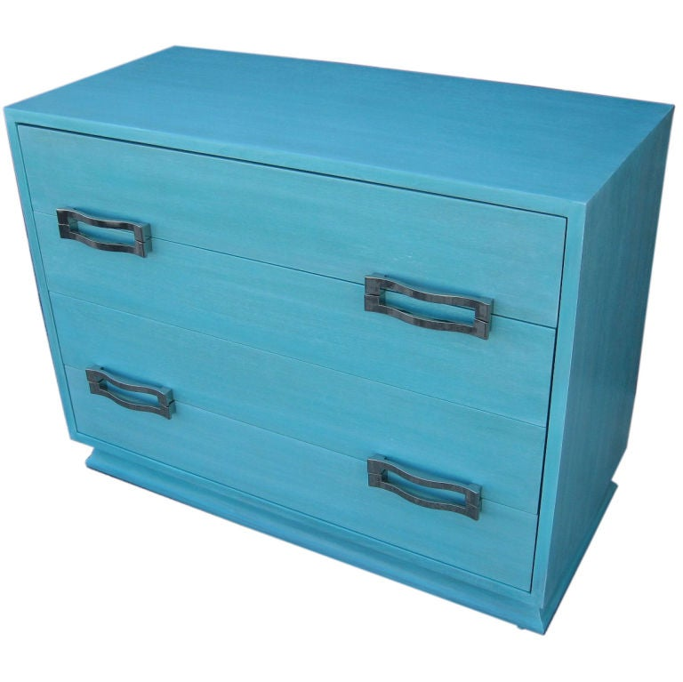 Morgan Furniture Cerused Turquoise Chest of Drawers at 1stdibs