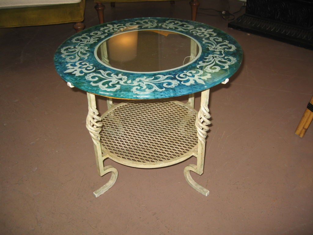 Mid Century Modern Glass and Iron Table image 2