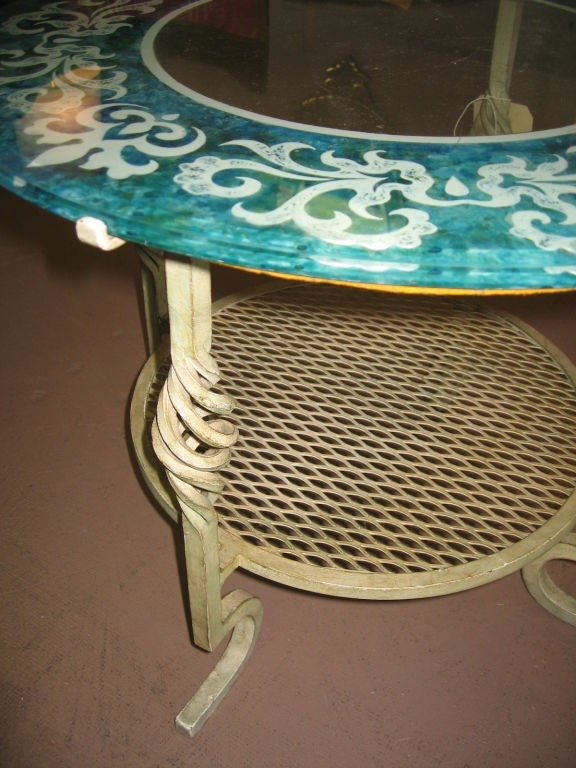Mid Century Modern Glass and Iron Table image 3
