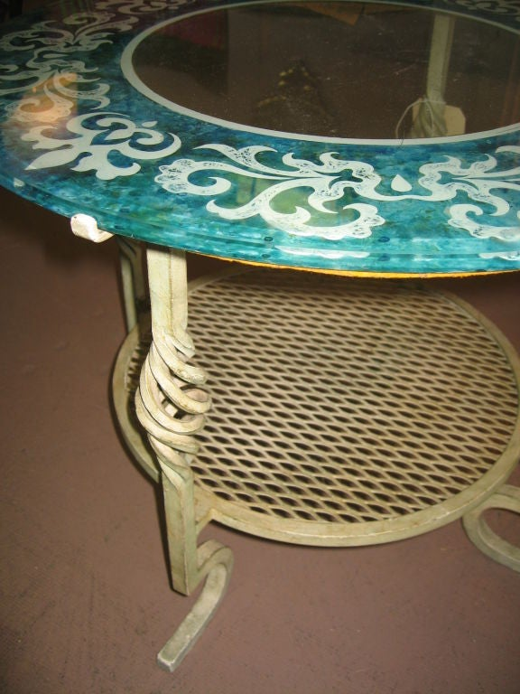 Mid Century Modern Glass and Iron Table image 4