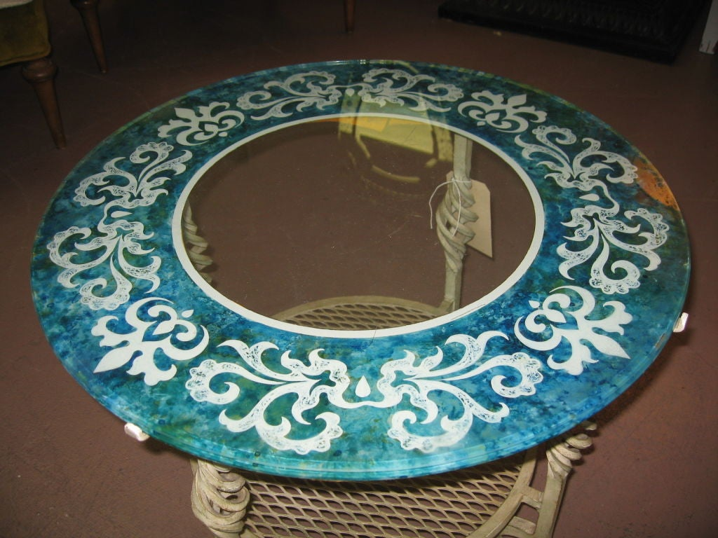 Mid Century Modern Glass and Iron Table image 5