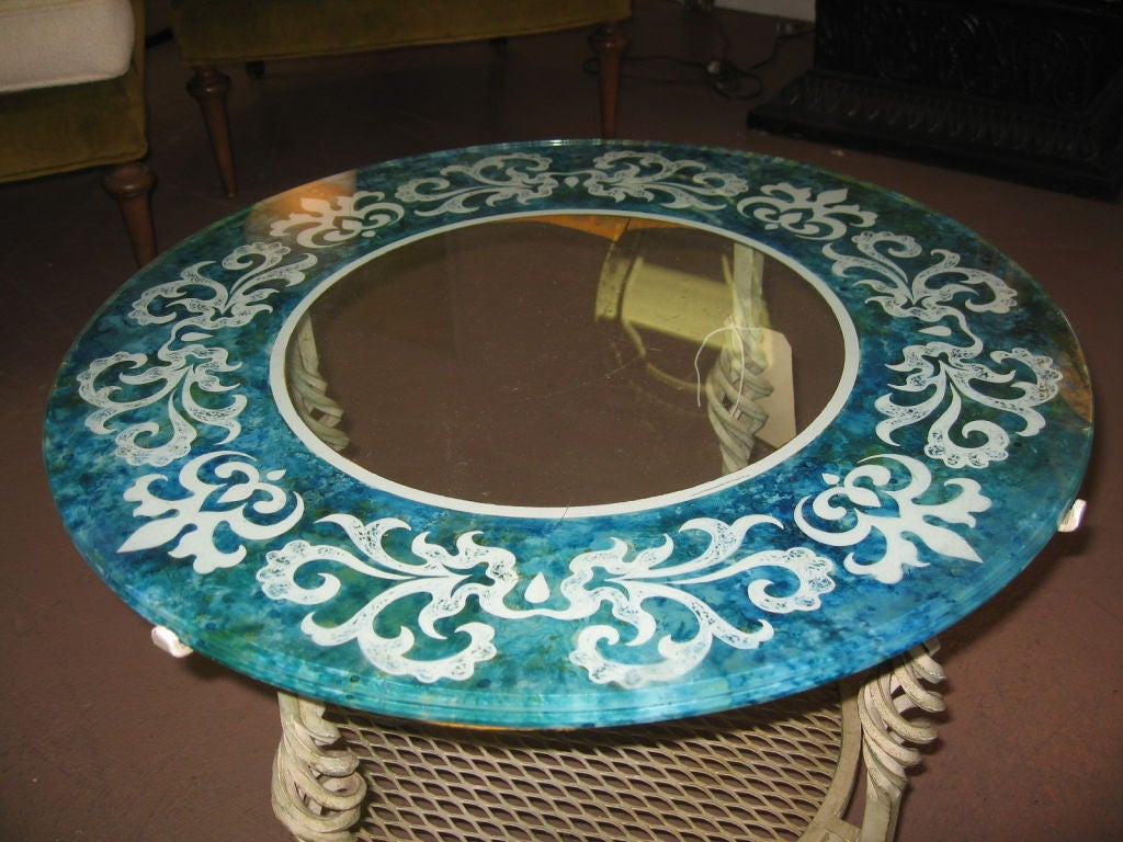 Mid Century Modern Glass and Iron Table image 7