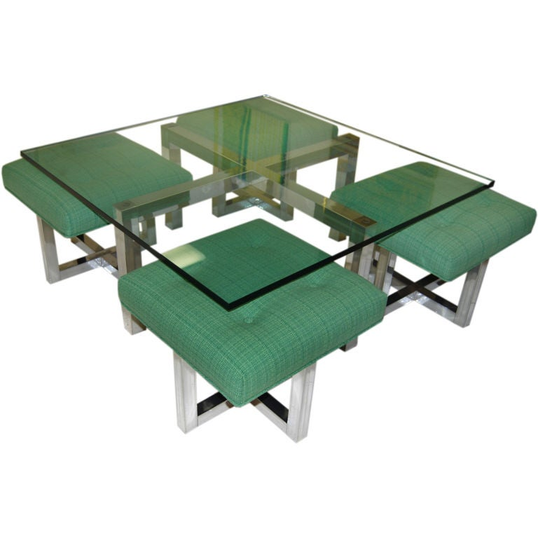 Super Design Coffee Table And Stool Set At 1stdibs