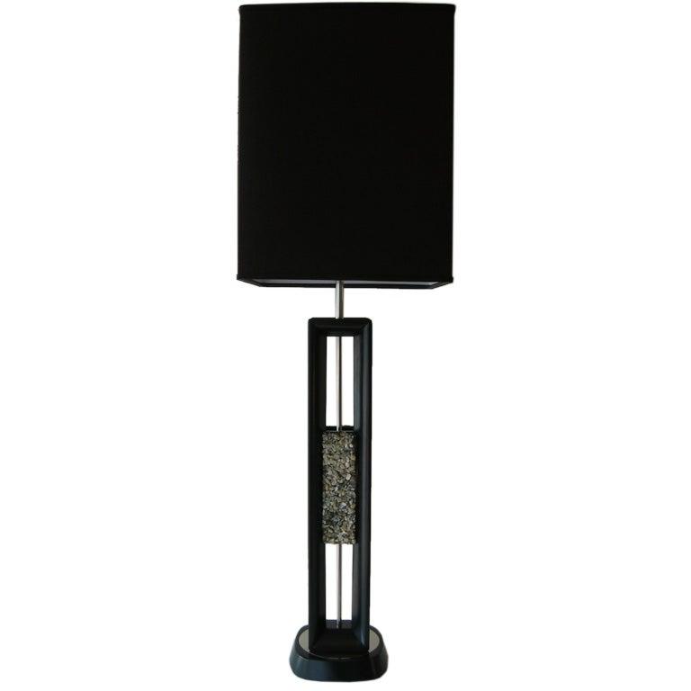 Sculptural Mid Century Modern Danish Wood & Quartz Midcentury Table or Desk Lamp