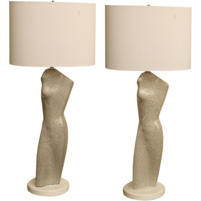 Pair of Glazed Ceramic Torso Silhouette Sculptural Table Lamps 1