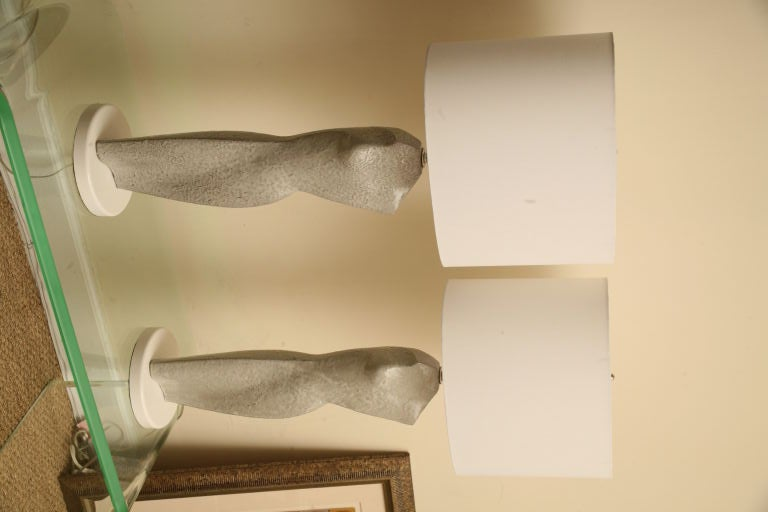 Pair of Glazed Ceramic Torso Silhouette Sculptural Table Lamps 3