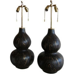 Pair Karl Springer Textured Ceramic Lamps