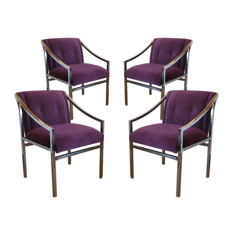 This four wishbone chairs by hans wegner is no longer available - Group Of Four Mastercraft Chrome Chairs At 1stdibs