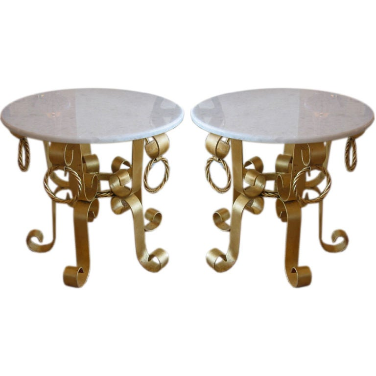 Pair of Vintage Italian Gold Leaf Gilded Iron & Marble Top End /Side Tables