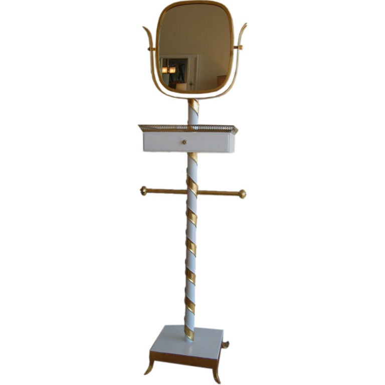 Venetian Italian Mid Century Gilded and Lacquered Swivel Mirror Stand