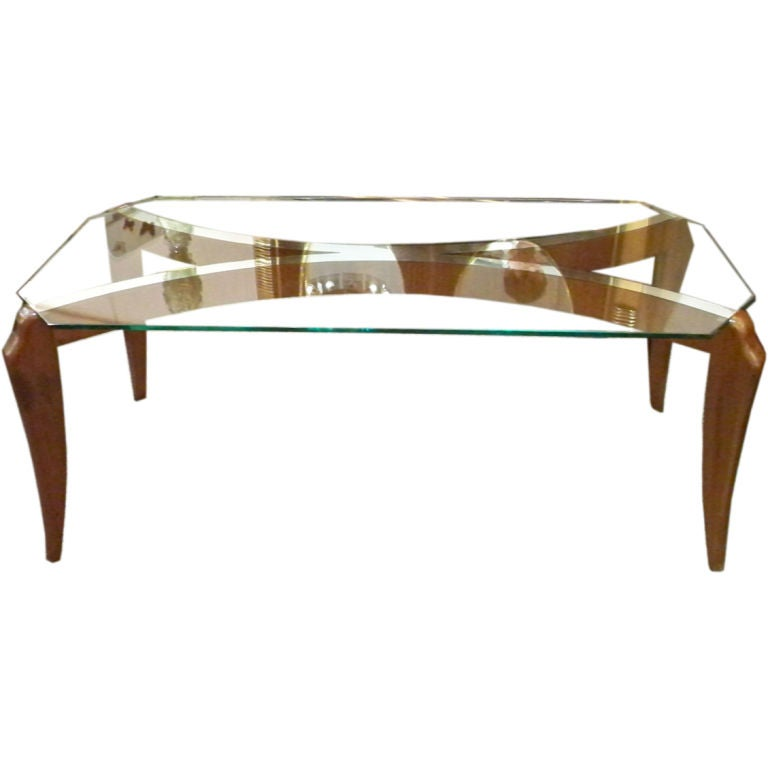 An Art Deco Cocktail Table In Mahogany And Silvered Glass At 1stdibs