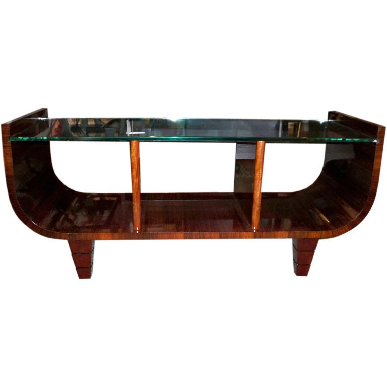 An Art Deco Cocktail Table in Rosewood and Glass Attr Gio